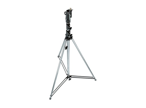 """MANFROTTO • Pied chrome """"Tall Stand"""" 3 sections 146-380 cm"""
