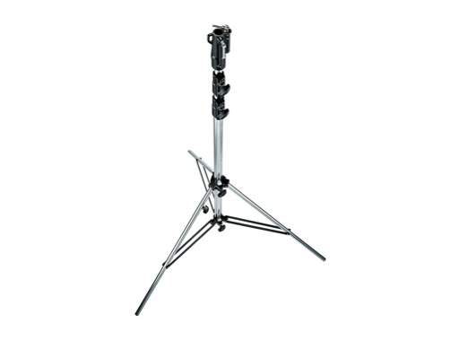 """MANFROTTO • Pied chrome """"Heavy Duty"""" jambe réglable 131-333 cm"""