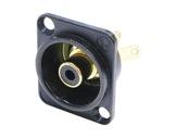 NEUTRIK • Embase RCA noire bague noire format D-cablage