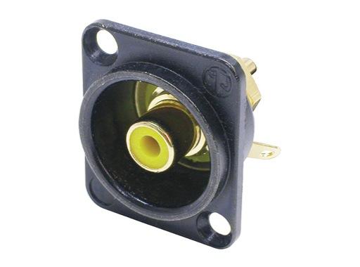 NEUTRIK • Embase RCA noire bague jaune format D