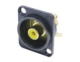 NEUTRIK • Embase RCA noire bague jaune format D-neutrik