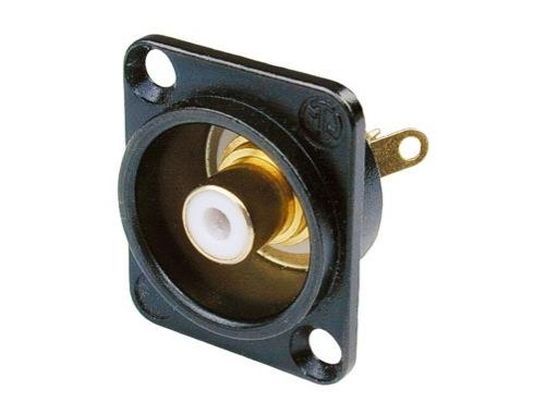 NEUTRIK • Embase RCA noire bague blanche format D