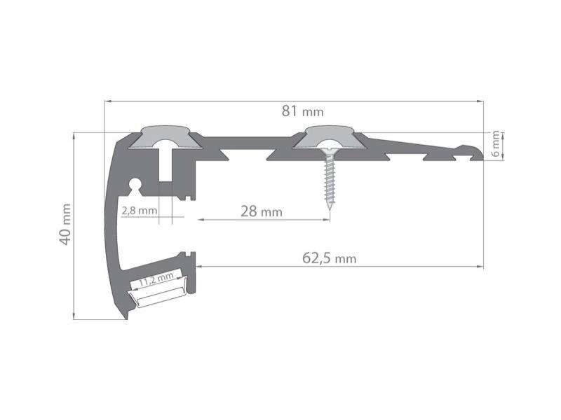 Nez De Marche Aluminium Anodise Pour Led 1 00m Eclairage Direct Et