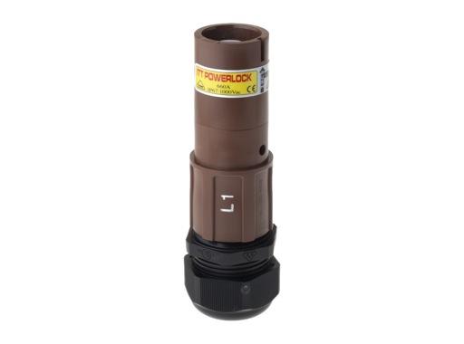 POWERLOCK 660A • Fiche Source Ph1 marron à sertir 240° PG36 - 1000V
