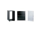Rack métal noir • 8U P 540mm pieds ajustables + fond et porte avant à serrure-baies-de-rackage