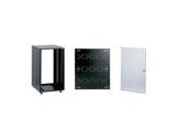 Rack métal noir • 12U P 540mm pieds ajustables + fond et porte avant à serrure-baies-de-rackage