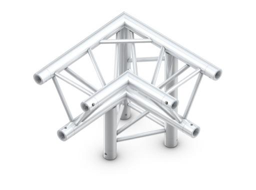 QUICKTRUSS • Trio M290 Angle 90° 3 directions droite pointe en bas + kit