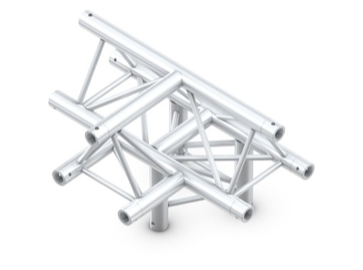 QUICKTRUSS • Trio M290 Té 4 directions horizontal pointe en haut + kit