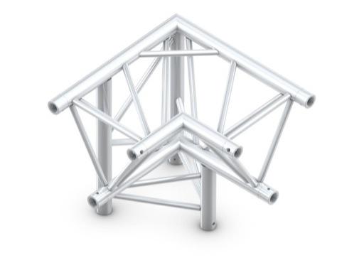 QUICKTRUSS • Trio M390 Angle 90° 3 directions gauche pointe en bas + kit