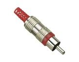 Fiche • RCA mâle bague rouge métal-cablage