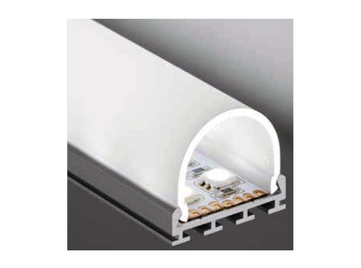 ESL • Profil alu anodisé double pour Led 2.00m + diffuseur opaline Oval