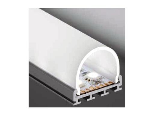 ESL • Profil alu anodisé double pour Led 3.00m + diffuseur opaline Oval