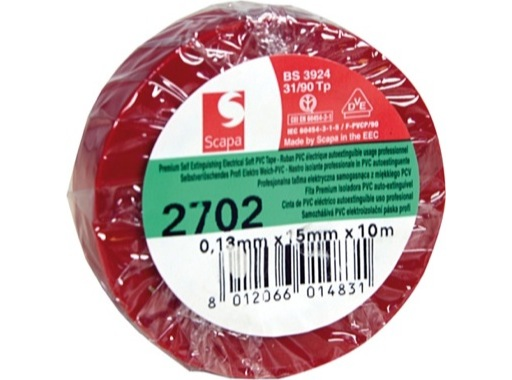 Adhésif PVC rouge 15mm x 10m 103210 • SCAPA
