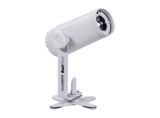PROLIGHTS • Projecteur blanc à LED pinspot BATPINIR 1x2W CW 5° sur batterie