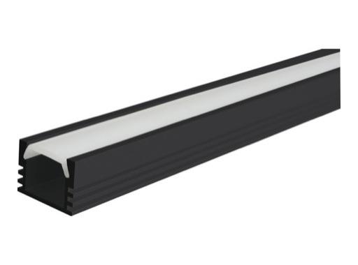 ESL • Profil alu noir PDS4 pour Led 2.00m + diffuseur opaline
