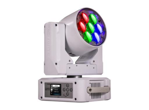 PROLIGHTS • Lyre Wash asservie Diamond7 Full RGBW 7x15 W, zoom 6-66° blanche