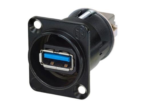 NEUTRIK • Traversée de panneau USB3 A/B serie D noire