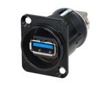 NEUTRIK • Traversée de panneau USB3 A/B serie D noire-neutrik