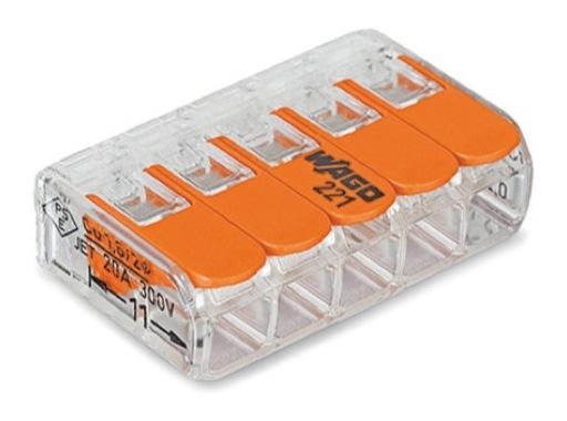 WAGO • Paquet de 25 bornes de connexion sans outils 5 X 0,08 à 4mm2 souple