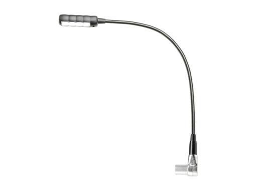 Lampe LED col de cygne 4 LEDs sur XLR4 mâle coudée, flexible 400mm