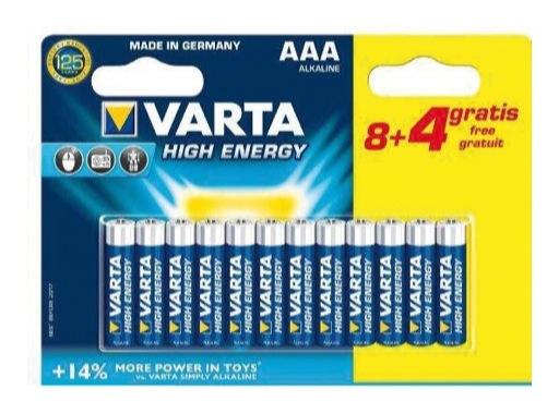 VARTA • Piles alcalines HIGH ENERGY LR03 AAA blister x 12