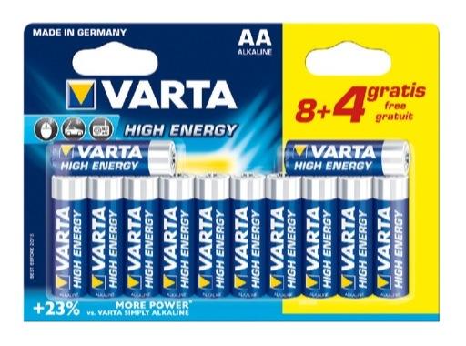 VARTA • Piles alcalines HIGH ENERGY LR06 AA blister x 12