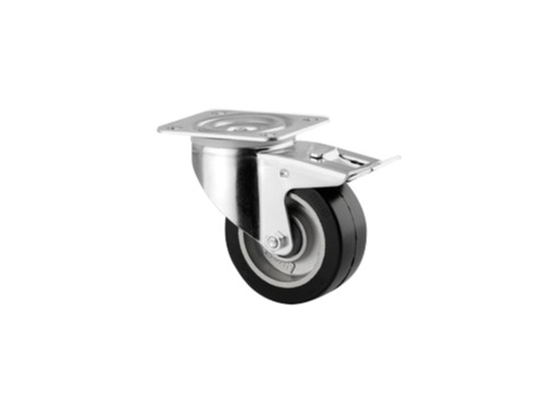 roulette avec frein noire forte charge statique 400 kg 100 mm tente. Black Bedroom Furniture Sets. Home Design Ideas