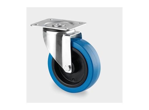 Roulette • Tente sans frein bleue Ø100 mm charge statique 140kg