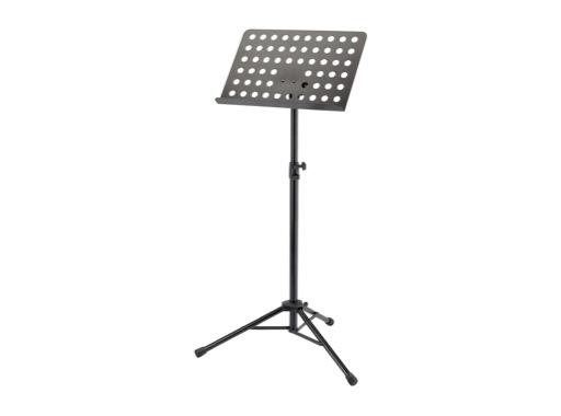 K&M • Pupitre d'orchestre noir. Plateau perforé et pied en acier