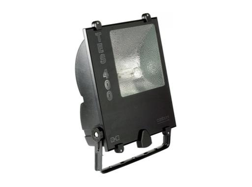 TES400 • Projecteur iodure 400W asymétrique noir IP65 + lampe
