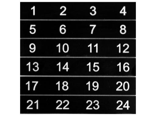ESL • Etiquettes numérotées de 01 à 24 pour boîtier de scène NSBA2A, NSBA3B - 3C