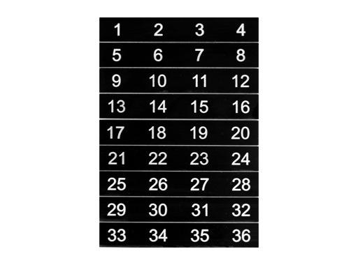 ESL • Etiquettes numérotées de 01 à 36 pour boîtier de scène NSBA3A