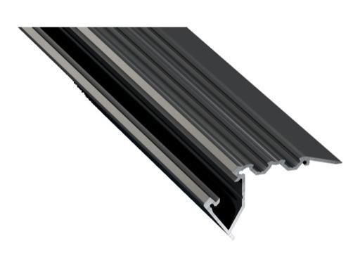 ESL • Nez de marche alu anodisé noir pour Led 2.00m (Eclairage direct et/ou ind)