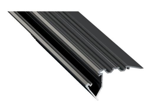 ESL • Nez de marche alu anodisé noir pour Led 3.00m (Eclairage direct et/ou ind)
