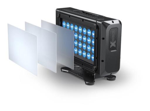 Projecteur X BRICK Full RGBW 32 x 20 W IP65 8° + filtres holographiques • DTS