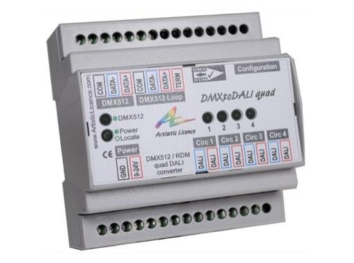 ARTISTIC LICENCE • Convertisseur DMXtoDALI quad DMX vers 4 circuits DALI rail DI