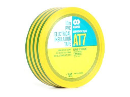 Adhésif AT7 PVC vert/jaune 15mm x 10m 173785 - ADVANCE