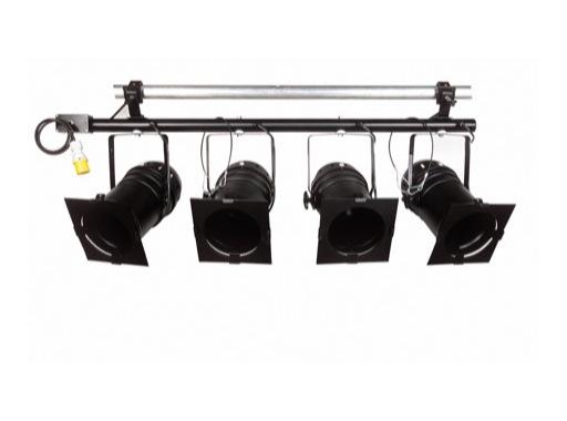 BARRE • Noire câblée 4 PAR64 ACL+4552G sortie sur P17 120V