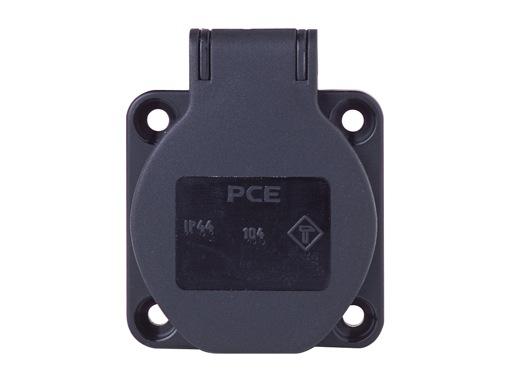 PCE • Embase femelle noir SHUKO 16A 250V 2P+T IP54