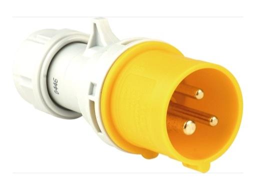 PCE • Fiche mâle jaune CEE17 110V 16A 2P+T IP44
