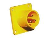 PCE • Embase mâle jaune CEE17 16A 110V 2P+T IP44-cee-17