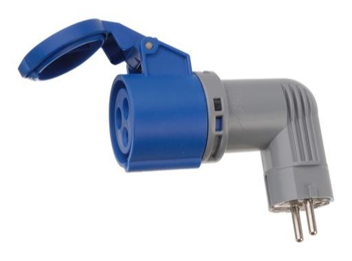 Adaptateur coudé • CEE17 femelle/PC mâle 16A section 2,5mm2