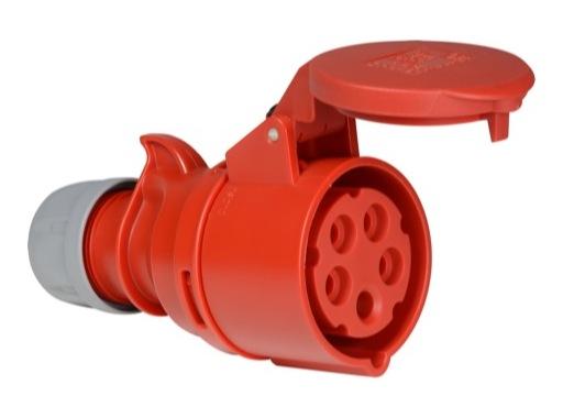 PCE • Prolongateur femelle P17 16A 380V 3P+T+N IP44 ROUGE