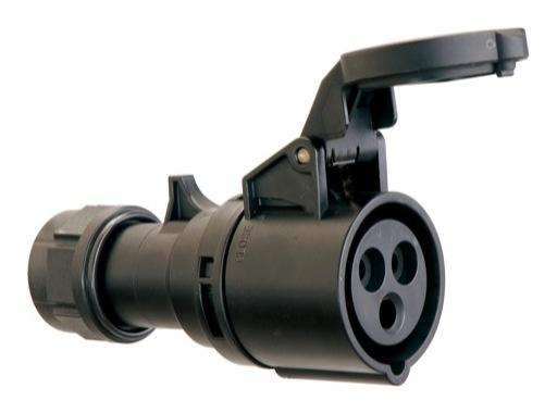 PCE • Prolongateur femelle Noire P17 16A 220V 2P+T IP 44
