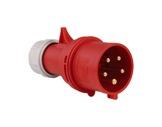 PCE • Fiche mâle 025-6 P17 415V 32A 3P+N+T IP44 ROUGE-cablage