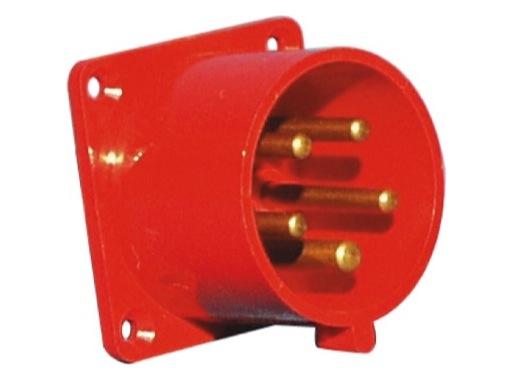 PCE • Socle mâle droit P17 32A 400V 3P+N+T IP44 ROUGE