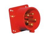 PCE • Socle mâle droit P17 32A 400V 3P+N+T IP44 ROUGE-cablage