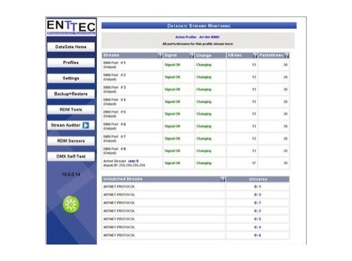 ENTTEC • Licence Stream Auditor pour DATAGATE MK2 & PIXELATOR