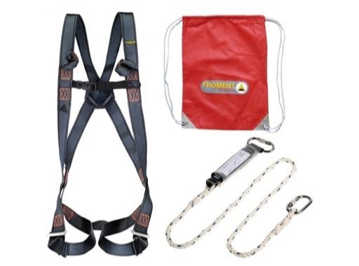KIT • Harnais S/M/L + longe 2m avec mousqueton + absorbeur + sac