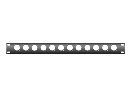 """KILT • Plaque 1U / 19"""" avec usinage pour 12 embases série D"""